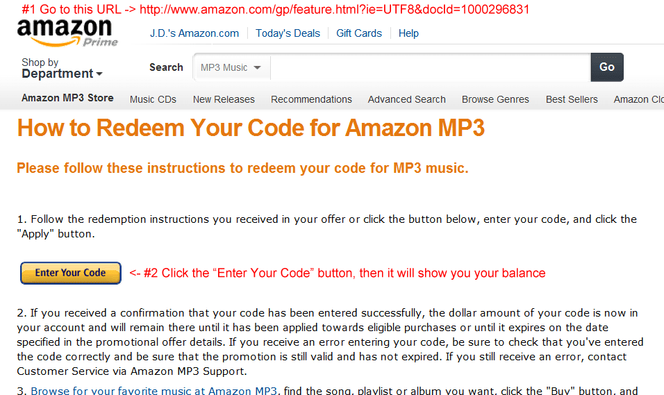 How to check your Amazon.com MP3 music / gift card